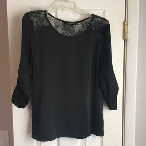 Forever 21 Lace Inset Satin Black 3/4 Sleeve Top